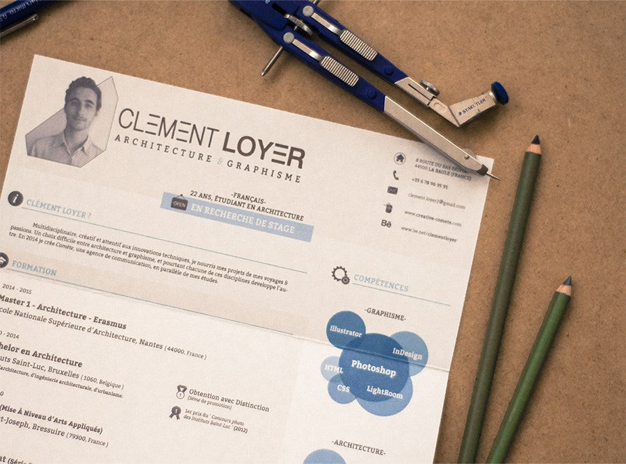 Free Clement Loyer Photoshop (PSD) Resume Template - CreativeBooster