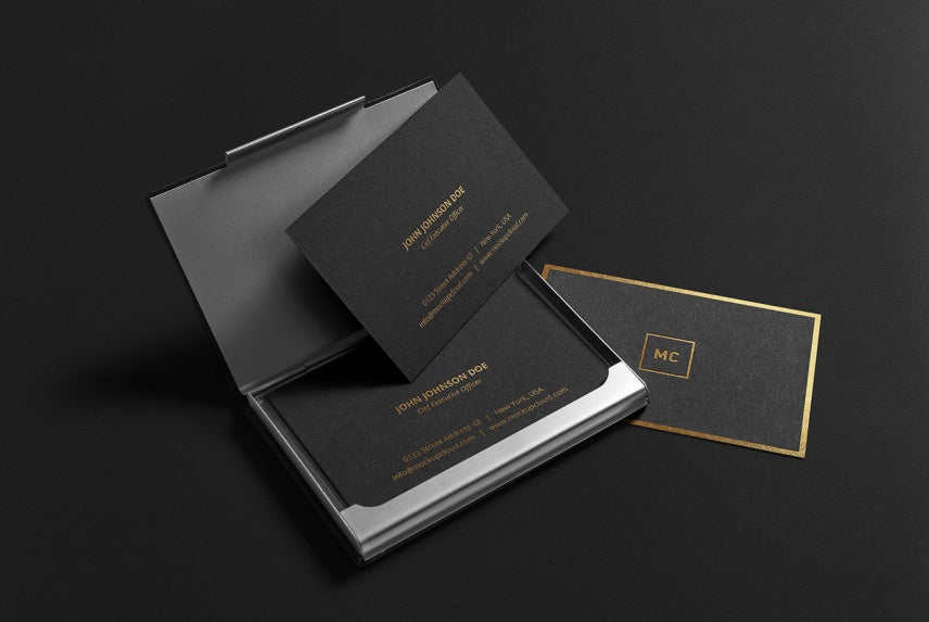 Free Black Luxurious Premium Business Cards Mockup - CreativeBooster