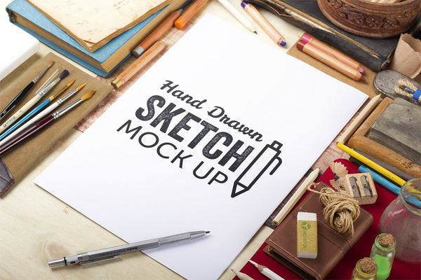 free hand drawn sketch mockup with a man drawing