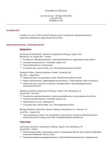 Free Writers Ivy League Cv Resume Template In Microsoft Word