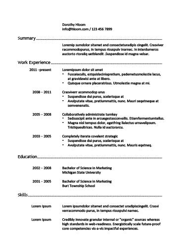 Free Chronological Hard Worker CV Resume Template In Microsoft Word (DOCX)  Format