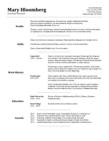 Free Goldfish Bowl Combination Cv Resume Template In Microsoft