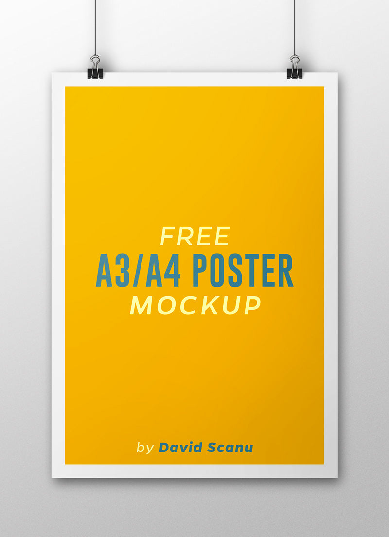 Free A3 or A4 Poster Mockup - CreativeBooster