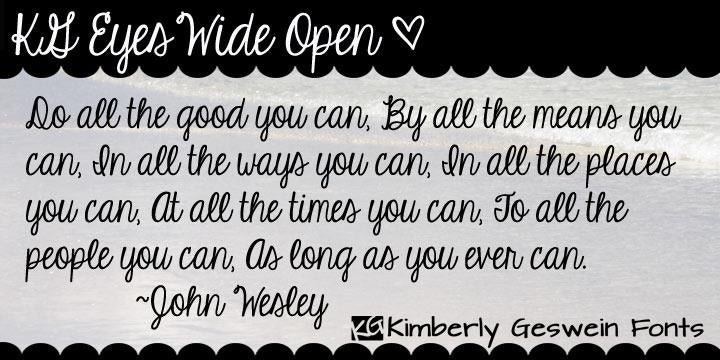 Free KG Eyes Wide Open Font - CreativeBooster