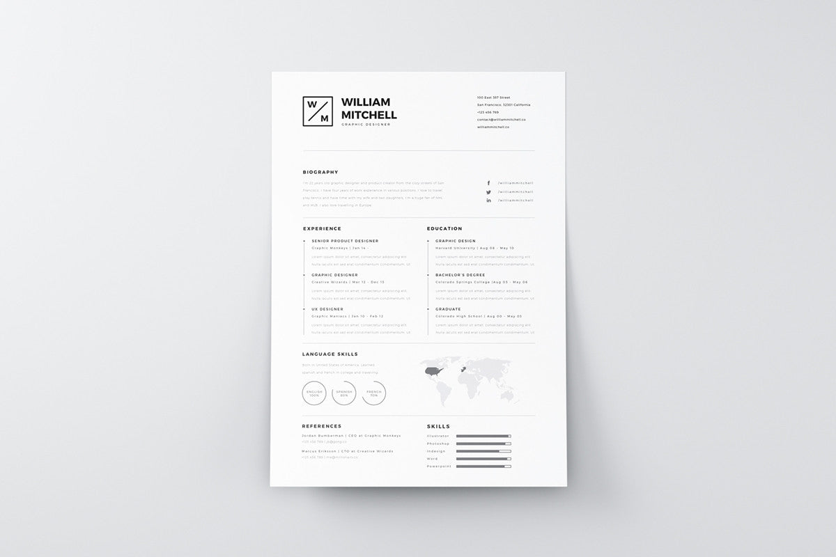 free minimalistic and clean resume template - Minimalist Resume Template