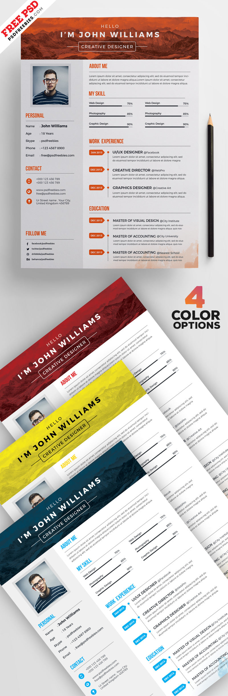 free 4 creative cv resume design templates set in photoshop psd