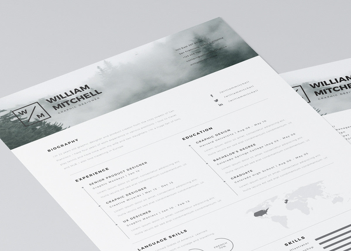 free minimalistic and clean resume template