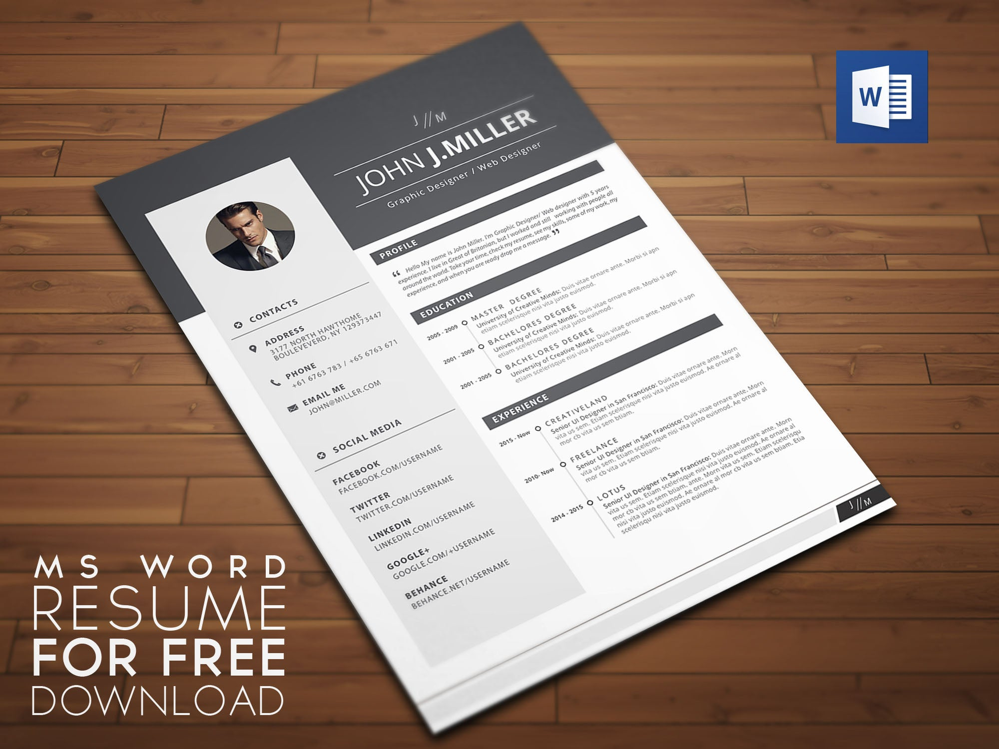 Free Microsoft Word Format CV Resume Template In Minimal Style
