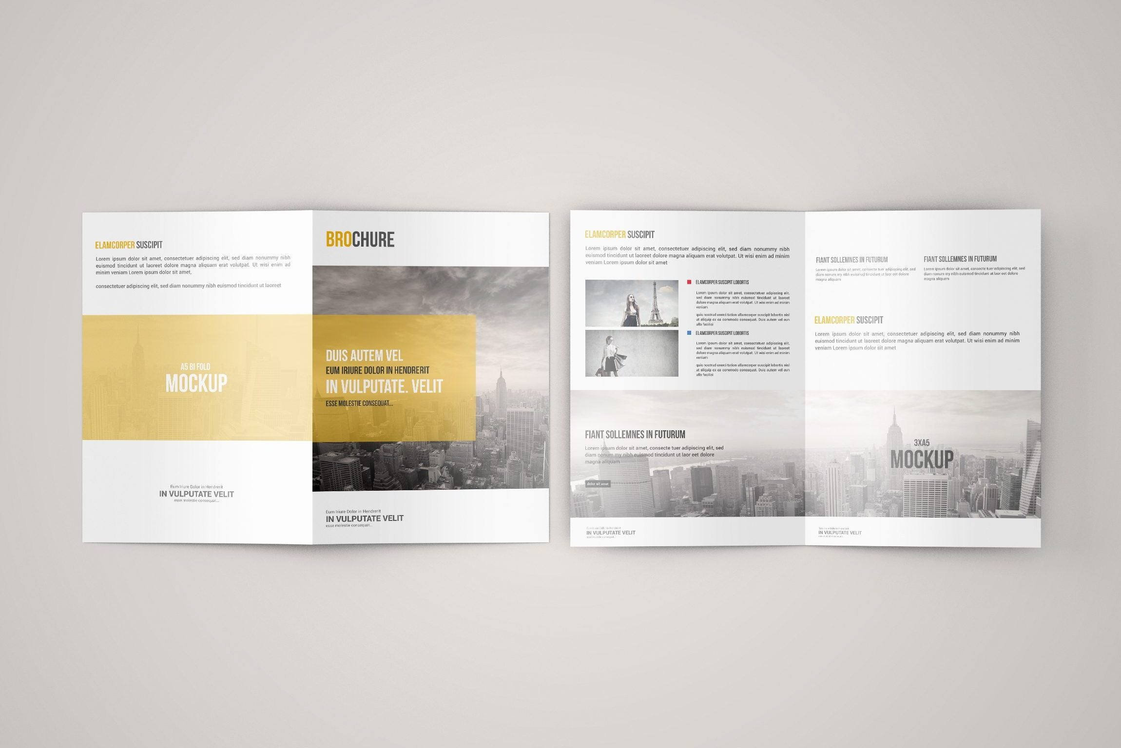 free clean a5 bi-fold brochure mock-up