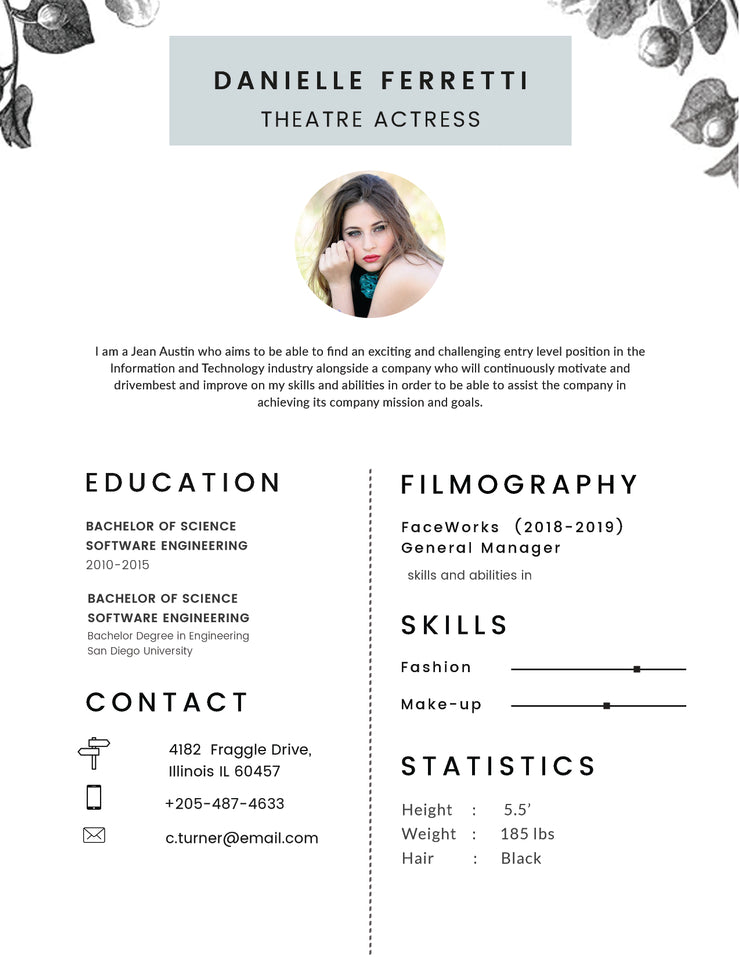 free theatre actress photo resume cv template in photoshop  psd   illu