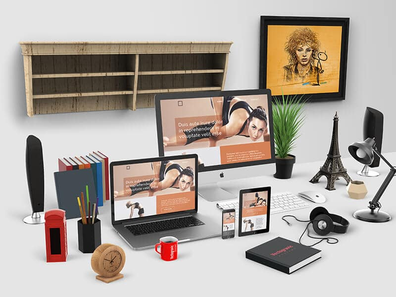 Free Apple Devices Mockups In Home Office Table