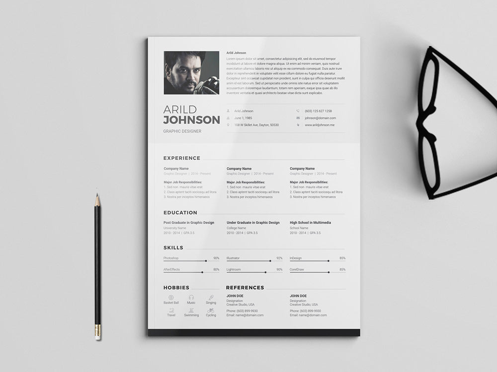 Free Clean And Modern Photo Resume CV Template In Photoshop PSD Illustrator
