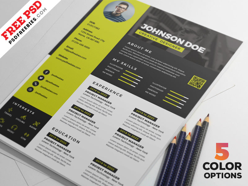 free awesome cv resume design template in photoshop  psd  format