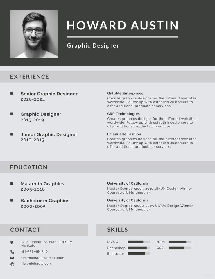 Free Basic Resume CV Template in Photoshop (PSD ...