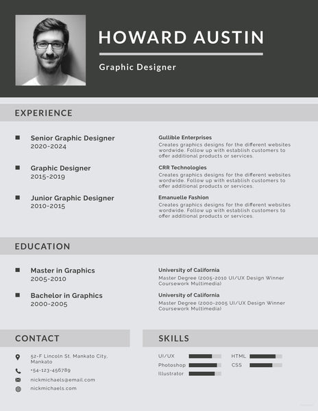 free basic resume cv template in photoshop  psd