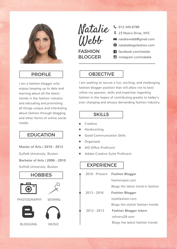 charmant Free Best Fashion Resume CV Template in Photoshop (PSD), Illustrator (AI)  and Microsoft Word Formats