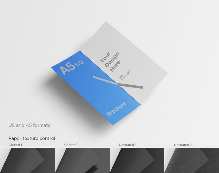Free Brochure A5 With A One Third Of Size Mockup
