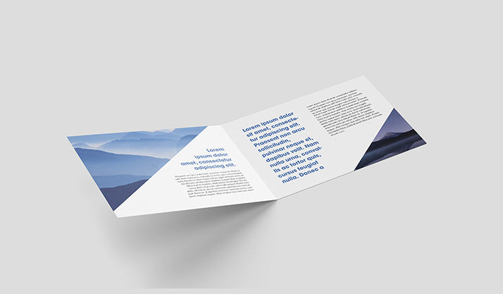 free set of 4 clean horizontal bi-fold leaflet mockups