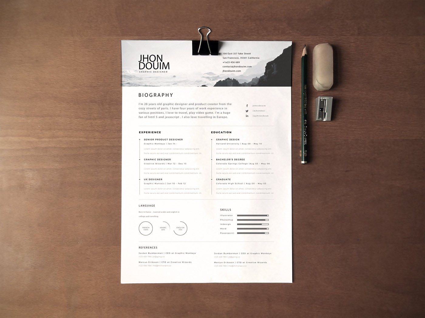 free ultra simple photo resume cv template in photoshop  psd  format