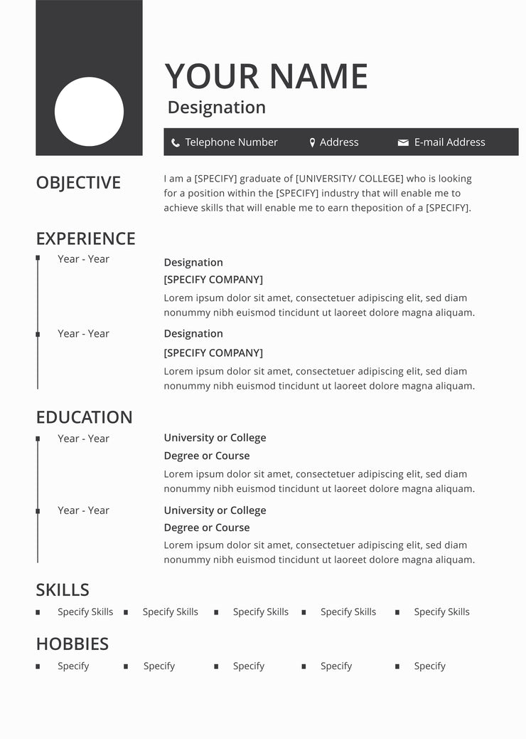 Free Blank Resume CV Template in Photoshop (PSD ...
