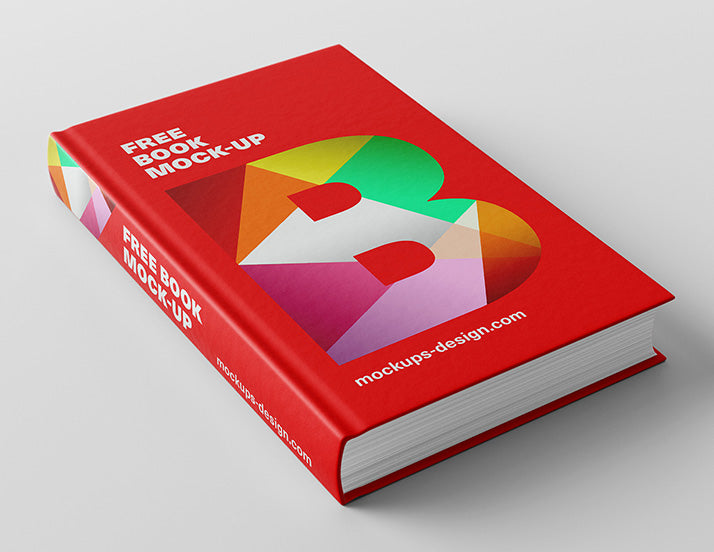 free red thick book or novel mockup creativebooster