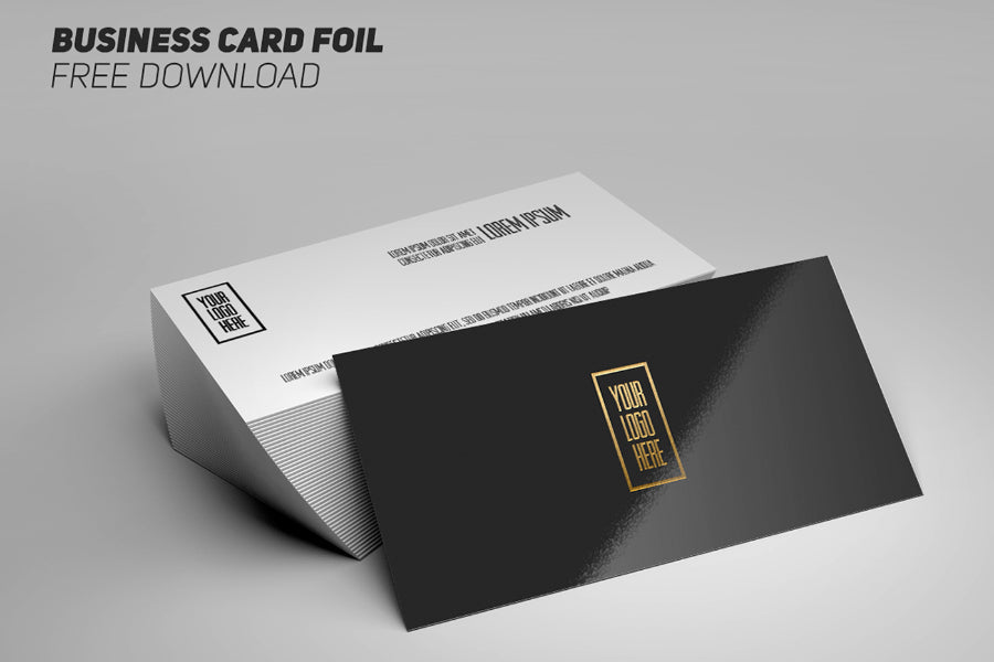 free glossy business card logo foil mockup