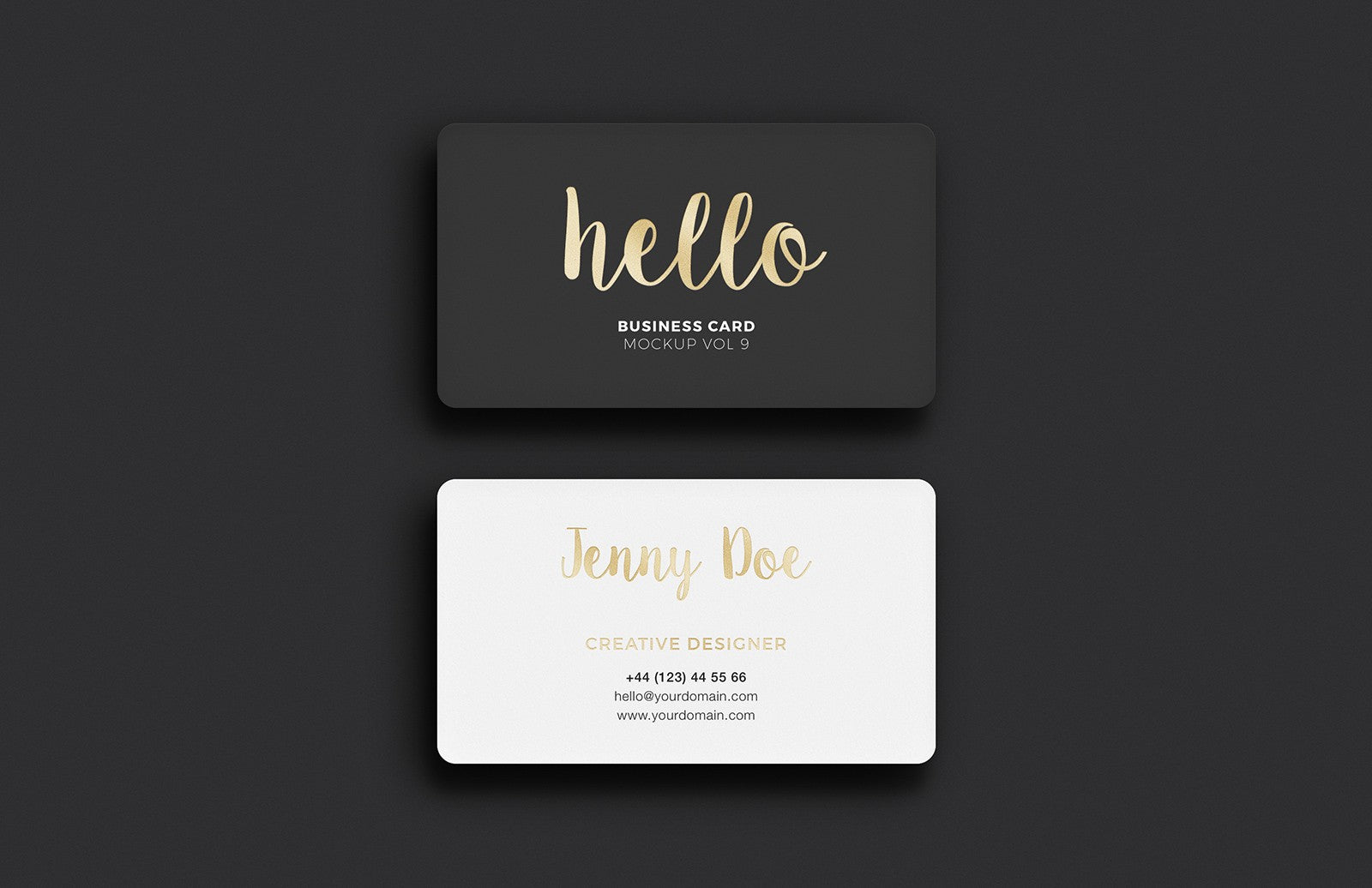 free black and white business card versions  mockup