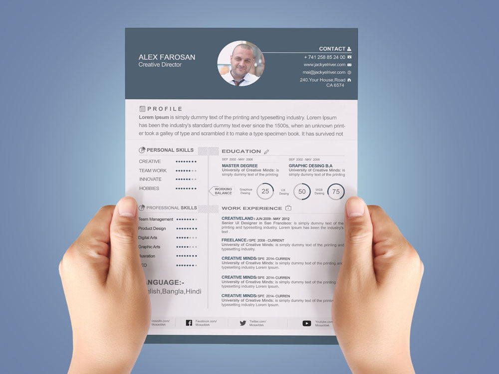 free modern resume cv template with cover letter in