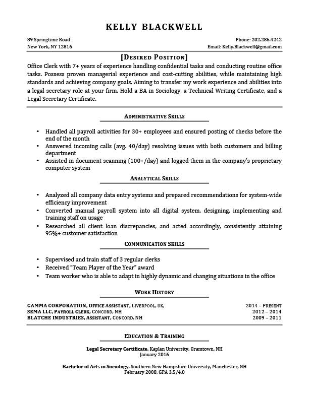Free Career Changer Resume Templates In Microsoft Word Format