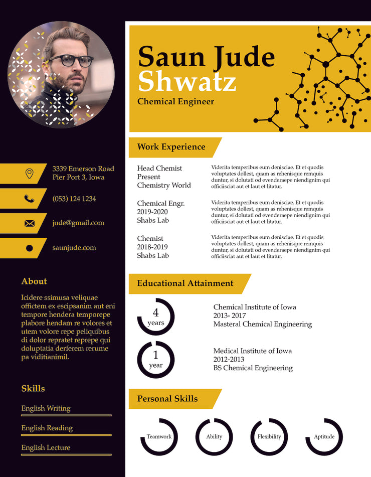 free chemical engineer resume cv template in indesign
