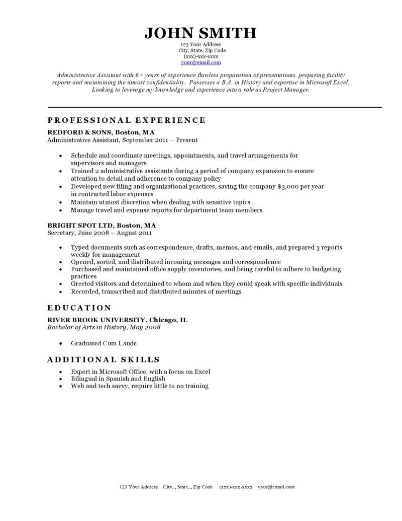 Free Classic Resume Templates In Microsoft Word Format