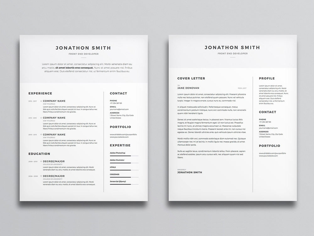 Free Clean And Minimal Resume CV Template With Cover Letter In Photoshop PSD Illustrator AI Formats
