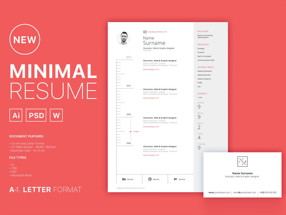 Free Clean Minimal Curriculum Vitae Resume Template In Photoshop PSD Illustrator AI