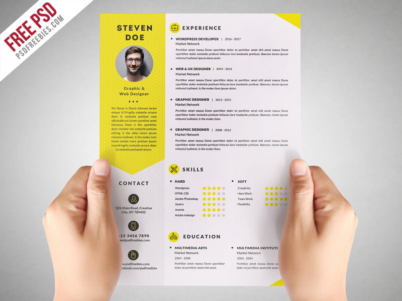 Free Clean Designer Photo Cv Resume Template In Photoshop Psd