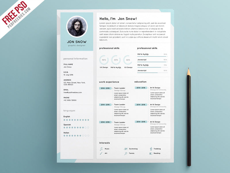 Free Clean And Minimalist CV Resume Template In Photoshop PSD Format