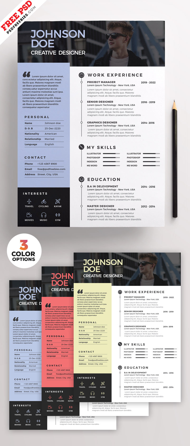 free clean minimal cv resume design template in photoshop