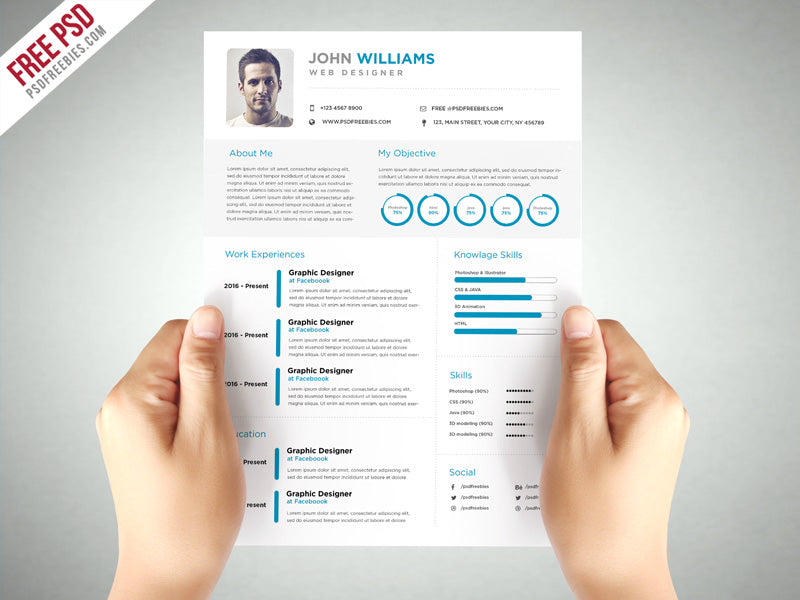 Free Clean And Elegant Cv Resume Template In Photoshop Psd