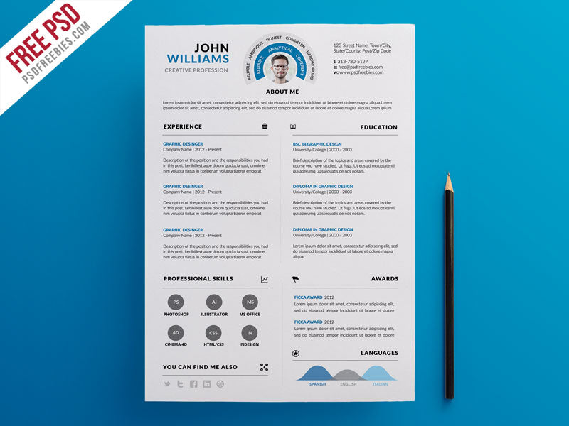 Free Clean And Infographic Photo CV Resume Template In Photoshop