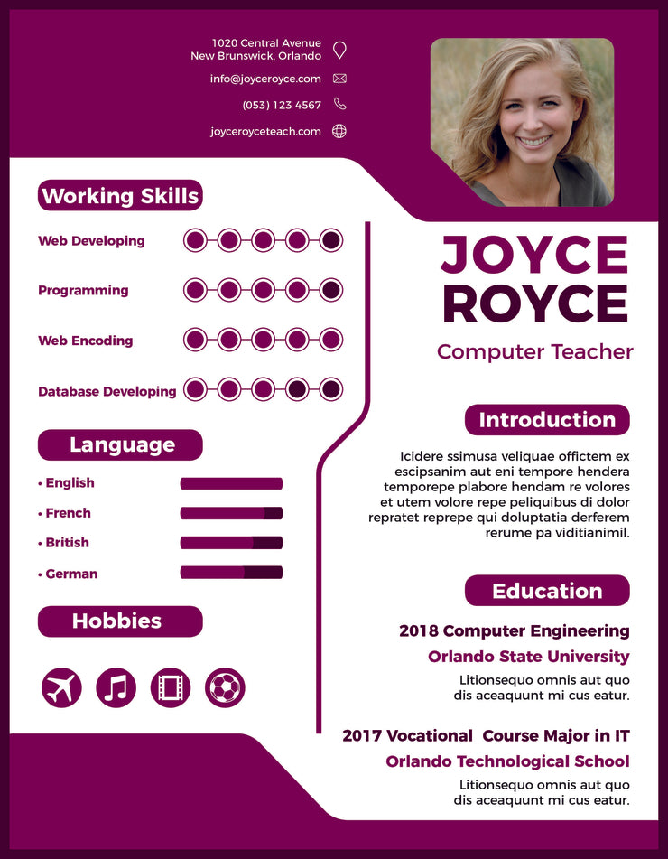 Free Computer Teacher Resume Cv Template In Indesign Format