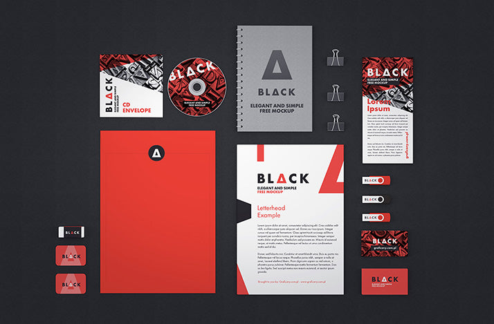 free dark corporate identity mockup with accessories creativebooster