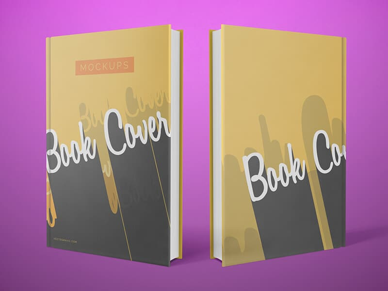 free clean front and back cover book mockups