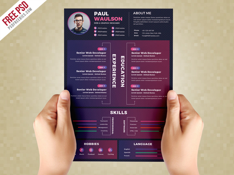 Free Creative Dark CV Resume Template in Photoshop (PSD ...