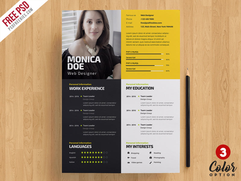 Free Creative Cv Resume Template Bundle In Photoshop Psd Format