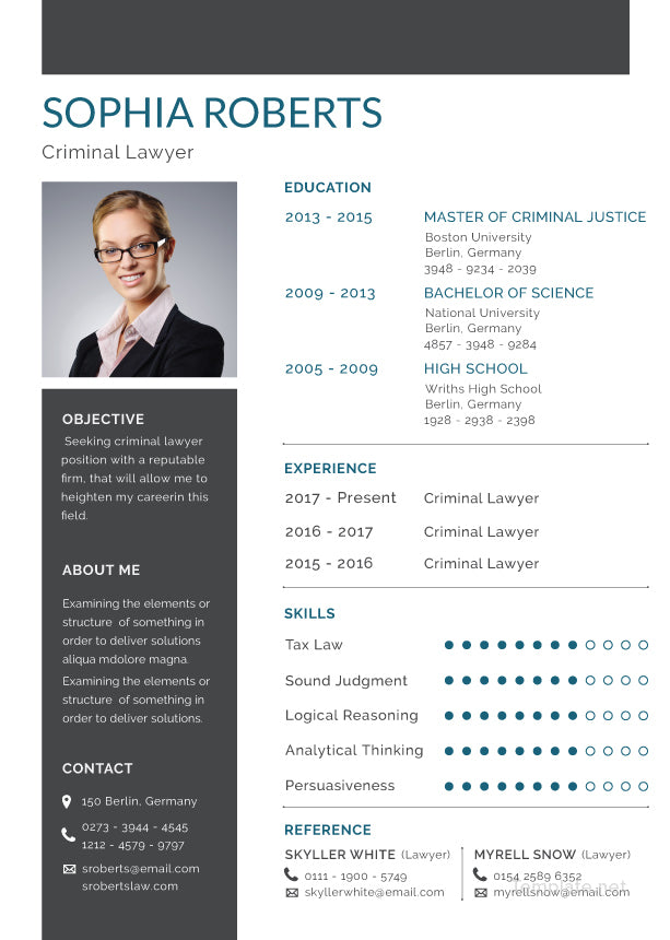 free basic criminal lawyer resume cv template in photoshop