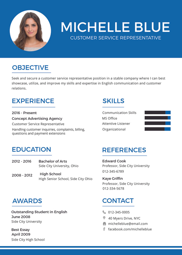 free customer service representative resume cv template in photoshop psd illustrator ai microsoft word and indesign formats