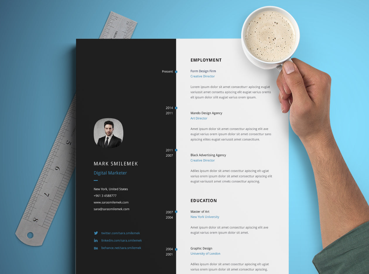 Free Vertical Resume CV Template In Photoshop PSD Illustrator AI