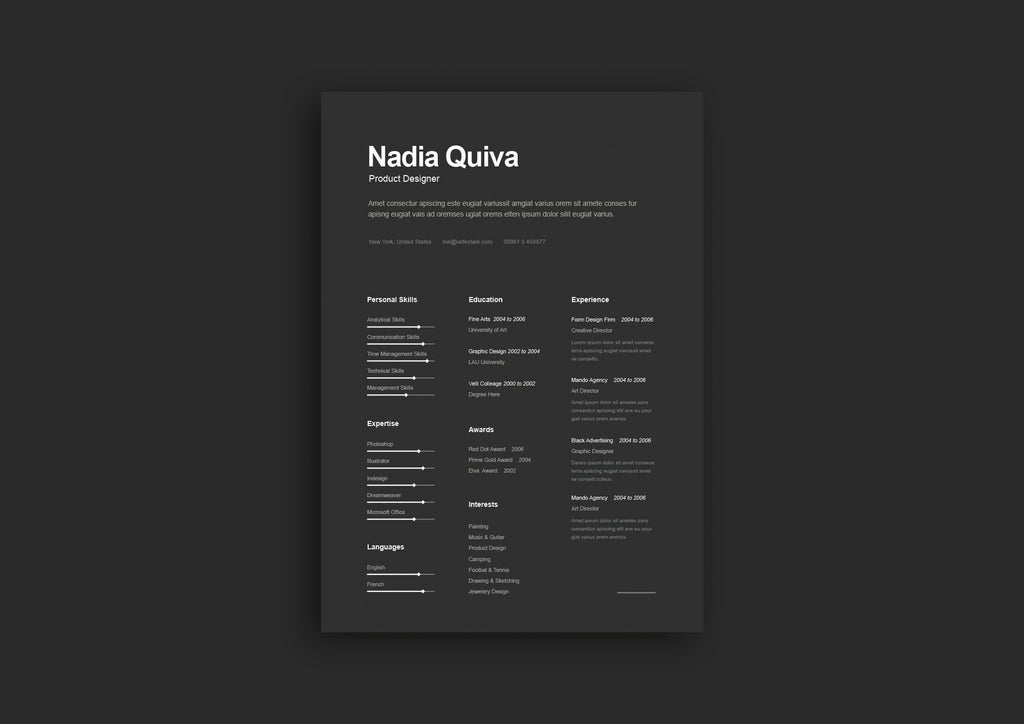 Free Simple A4 Dark Resume And CV Template In Illustrator AI Format