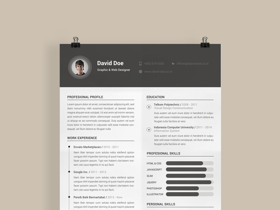 Free Clean And Minimal Photo Resume Cv Template In Photoshop Psd
