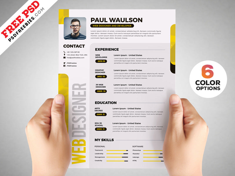 Free Designer Creative Cv Resume Design Template In Photoshop Psd