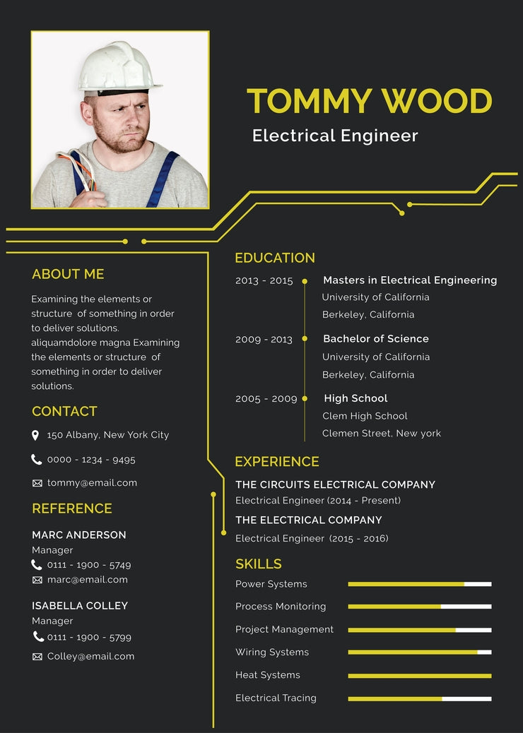 Free Electrical Engineer Resume Cv Template In Illustrator Ai